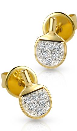 Diamond Table Tennis Bat Earrings