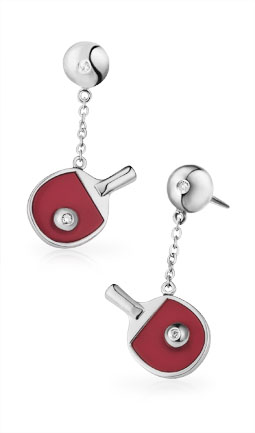 Free-Flowing Table Tennis Bat & Ball Earrings